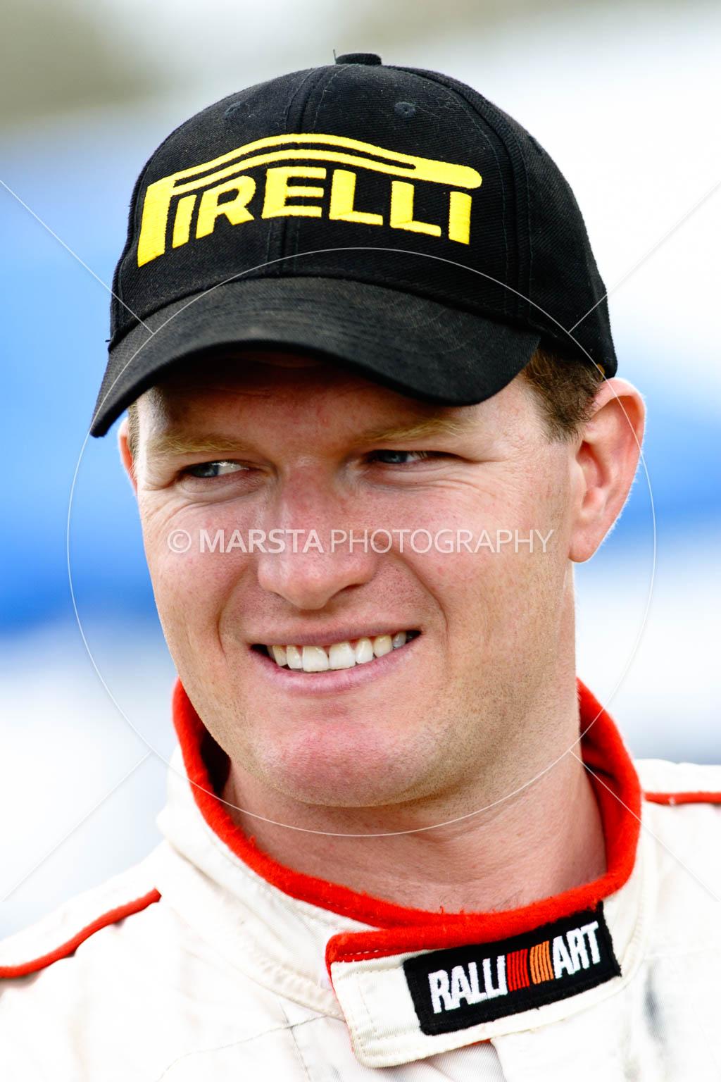 5 June 2005;ARC;Australia;Australian Rally Championship;Coates Rally Queensland;Imbil;Pirelli;QLD;Queensland;RalliArt;Scott Pedder;Sunshine Coast;Topshot;auto;cap;hat;logo;motorsport;portrait;racing;smile