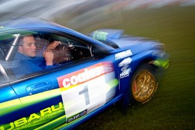 1;4-June-2005;ARC;Australia;Australian-Rally-Championship;Coates-Rally-Queensland;Imbil;QLD;Queensland;Subaru-Impreza-WRX;Sunshine-Coast;Topshot;auto;morning;motion-blur;motorsport;movement;racing;service-park;wide-angle