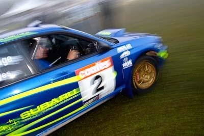 2;050605ARC;4-June-2005;ARC;Australia;Australian-Rally-Championship;Bill-Hayes;Coates-Rally-Queensland;Dean-Herridge;Imbil;QLD;Queensland;Subaru-Impreza-WRX;Sunshine-Coast;auto;morning;motion-blur;motorsport;movement;racing;service-park;wide-angle