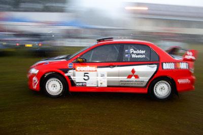 5;050605ARC;4-June-2005;ARC;Australia;Australian-Rally-Championship;Coates-Rally-Queensland;Evo-8;Glen-Weston;Imbil;Mitsubishi-Lancer;Mitsubishi-Lancer-Evolution-VIII;QLD;Queensland;RalliArt;Scott-Pedder;Sunshine-Coast;auto;morning;motion-blur;motorsport;movement;racing;service-park;wide-angle