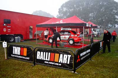 5;050605ARC;4-June-2005;ARC;Australia;Australian-Rally-Championship;Coates-Rally-Queensland;Evo-8;Glen-Weston;Imbil;Mitsubishi-Lancer;Mitsubishi-Lancer-Evolution-VIII;QLD;Queensland;RalliArt;Scott-Pedder;Sunshine-Coast;auto;morning;motorsport;racing;service-park;wide-angle