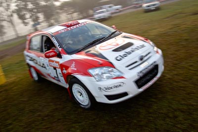 7;050605ARC;4-June-2005;ARC;Australia;Australian-Rally-Championship;Coates-Rally-Queensland;Coral-Taylor;Imbil;Neal-Bates;QLD;Queensland;Sunshine-Coast;Team-TRD;Toyota-Corolla-Sportivo;Toyota-Racing-Development;auto;morning;motion-blur;motorsport;movement;racing;service-park;wide-angle