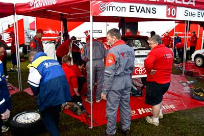 10;050605ARC;4-June-2005;ARC;Australia;Australian-Rally-Championship;Coates-Rally-Queensland;Imbil;QLD;Queensland;Simon-Evans;Sunshine-Coast;Team-TRD;Toyota-Corolla-Sportivo;Toyota-Racing-Development;auto;morning;motorsport;racing;service-park;wide-angle