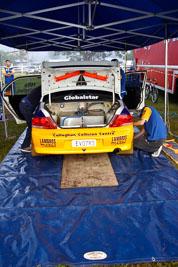 23;050605ARC;4-June-2005;ARC;Australia;Australian-Rally-Championship;Coates-Rally-Queensland;David-Callaghan;David-Hills;Evo-7;Imbil;Mitsubishi-Lancer;Mitsubishi-Lancer-Evolution-VII;QLD;Queensland;Sunshine-Coast;auto;morning;motorsport;racing;service-park;wide-angle