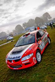 5;4-June-2005;ARC;Australia;Australian-Rally-Championship;Coates-Rally-Queensland;Evo-8;Glen-Weston;Imbil;Mitsubishi-Lancer;Mitsubishi-Lancer-Evolution-VIII;QLD;Queensland;RalliArt;Scott-Pedder;Sunshine-Coast;Topshot;auto;clouds;fog;morning;motorsport;racing;service-park;sky;wide-angle