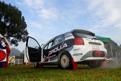 8;050605ARC;4-June-2005;ARC;Australia;Australian-Rally-Championship;Ben-Barker;Coates-Rally-Queensland;Damien-Long;Imbil;QLD;Queensland;Sunshine-Coast;Toyota-Corolla-Sportivo;auto;clouds;motorsport;racing;service-park;sky;wide-angle