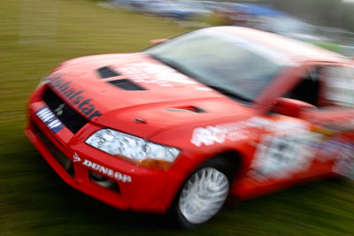 15;050605ARC;4-June-2005;ARC;Australia;Australian-Rally-Championship;Coates-Rally-Queensland;Evo-7;Imbil;Jo-Cadman;John-Mitchell;Mitsubishi-Lancer;Mitsubishi-Lancer-Evolution-VII;QLD;Queensland;Sunshine-Coast;auto;motion-blur;motorsport;movement;racing;service-park;wide-angle