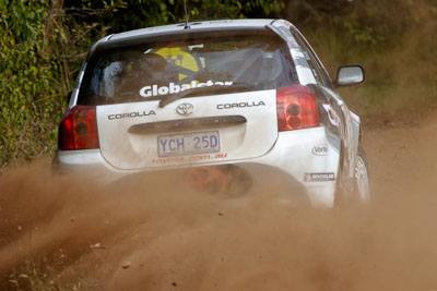 8;050605ARC;4-June-2005;ARC;Australia;Australian-Rally-Championship;Ben-Barker;Coates-Rally-Queensland;Damien-Long;Imbil;QLD;Queensland;Sunshine-Coast;Toyota-Corolla-Sportivo;auto;motorsport;racing