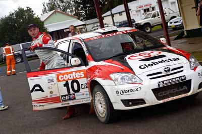 10;050605ARC;4-June-2005;ARC;Australia;Australian-Rally-Championship;Coates-Rally-Queensland;Imbil;QLD;Queensland;Simon-Evans;Sue-Evans;Sunshine-Coast;Team-TRD;Toyota-Corolla-Sportivo;Toyota-Racing-Development;auto;motorsport;racing
