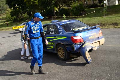 1;050605ARC;4-June-2005;ARC;Australia;Australian-Rally-Championship;Coates-Rally-Queensland;Dale-Moscatt;Imbil;QLD;Queensland;Subaru-Impreza-WRX;Sunshine-Coast;auto;co‒driver;damage;motorsport;navigator;racing