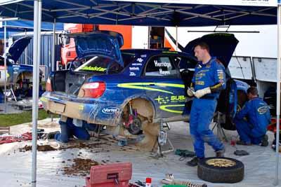 2;050605ARC;4-June-2005;ARC;Australia;Australian-Rally-Championship;Bill-Hayes;Coates-Rally-Queensland;Dean-Herridge;Imbil;QLD;Queensland;Subaru-Impreza-WRX;Sunshine-Coast;auto;motorsport;racing;service-park;wide-angle