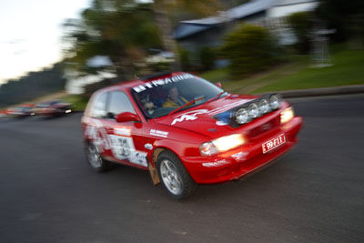 31;050605ARC;4-June-2005;ARC;Australia;Australian-Rally-Championship;Baleno;Cameron-Thompson;Coates-Rally-Queensland;Imbil;Mark-Neary;QLD;Queensland;Sunshine-Coast;Suzuki;auto;motion-blur;motorsport;movement;racing;wide-angle