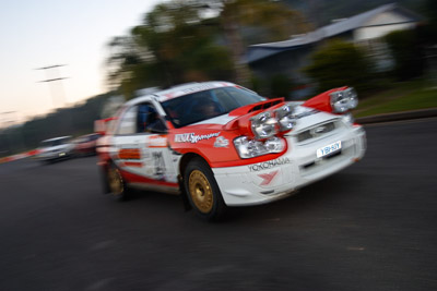 21;050605ARC;4-June-2005;ARC;Australia;Australian-Rally-Championship;Coates-Rally-Queensland;Darren-Windus;Imbil;Jonathan-Mortimor;QLD;Queensland;Subaru-Impreza-WRX;Sunshine-Coast;auto;motion-blur;motorsport;movement;racing;wide-angle