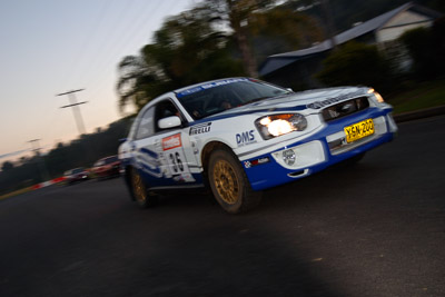 36;050605ARC;4-June-2005;ARC;Australia;Australian-Rally-Championship;Coates-Rally-Queensland;Imbil;Jennifer-Cole;QLD;Queensland;Subaru-Impreza-RS;Sunshine-Coast;Tim-Robson;auto;motion-blur;motorsport;movement;racing;wide-angle