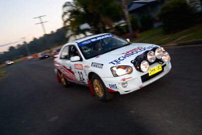 32;050605ARC;4-June-2005;ARC;Australia;Australian-Rally-Championship;Coates-Rally-Queensland;Imbil;John-Berne;QLD;Queensland;Scott-Beckwith;Subaru-Impreza-RS;Sunshine-Coast;auto;motion-blur;motorsport;movement;racing;wide-angle