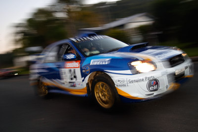 24;050605ARC;4-June-2005;ARC;Australia;Australian-Rally-Championship;Bernie-Webb;Coates-Rally-Queensland;Imbil;QLD;Queensland;Steve-Glenney;Subaru-Impreza-WRX;Sunshine-Coast;auto;motion-blur;motorsport;movement;racing;wide-angle
