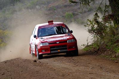 33;050605ARC;5-June-2005;ARC;Australia;Australian-Rally-Championship;Coates-Rally-Queensland;Daihatsu-Charade;Elysia-Kruper;Imbil;QLD;Queensland;Simon-Jansen;Sunshine-Coast;auto;motorsport;racing