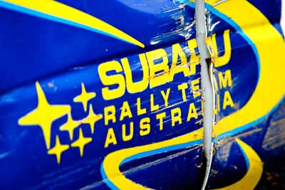 3;5-June-2005;ARC;Australia;Australian-Rally-Championship;Coates-Rally-Queensland;Imbil;Juha-Kangas;Julia-Rabbett;QLD;Queensland;Subaru;Sunshine-Coast;Topshot;auto;close‒up;damage;dent;detail;logo;motorsport;racing