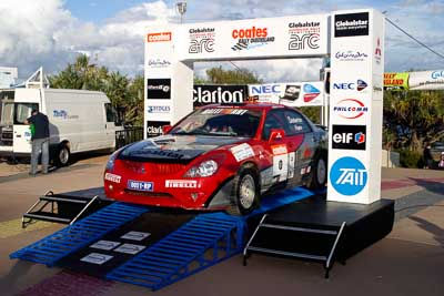 0;050605ARC;5-June-2005;ARC;Australia;Australian-Rally-Championship;Caloundra;Coates-Rally-Queensland;Hayes;Mitsubishi-Magna;QLD;Queensland;Ross-Dunkerton;Sunshine-Coast;afternoon;auto;motorsport;official-finish;podium;racing