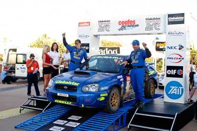 2;050605ARC;5-June-2005;ARC;Australia;Australian-Rally-Championship;Bill-Hayes;Caloundra;Coates-Rally-Queensland;Dean-Herridge;QLD;Queensland;Subaru-Impreza-WRX;Sunshine-Coast;afternoon;auto;motorsport;official-finish;podium;racing