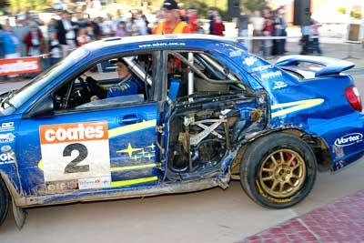 2;050605ARC;5-June-2005;ARC;Australia;Australian-Rally-Championship;Bill-Hayes;Caloundra;Coates-Rally-Queensland;Dean-Herridge;QLD;Queensland;Subaru-Impreza-WRX;Sunshine-Coast;afternoon;auto;crash;damage;motorsport;official-finish;podium;racing