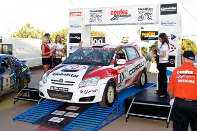 10;050605ARC;5-June-2005;ARC;Australia;Australian-Rally-Championship;Caloundra;Coates-Rally-Queensland;QLD;Queensland;Simon-Evans;Sunshine-Coast;Team-TRD;Toyota-Corolla-Sportivo;Toyota-Racing-Development;afternoon;auto;motorsport;official-finish;podium;racing