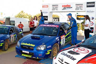 1;050605ARC;5-June-2005;ARC;Australia;Australian-Rally-Championship;Caloundra;Coates-Rally-Queensland;Cody-Crocker;Dale-Moscatt;QLD;Queensland;Subaru-Impreza-WRX;Sunshine-Coast;afternoon;auto;motorsport;official-finish;podium;racing