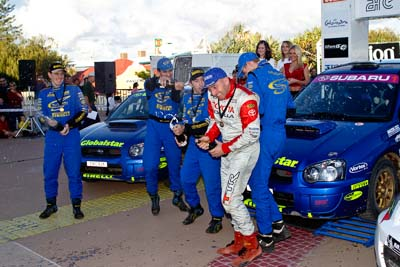 050605ARC;5-June-2005;ARC;Australia;Australian-Rally-Championship;Bill-Hayes;Caloundra;Coates-Rally-Queensland;Cody-Crocker;Dale-Moscatt;Dean-Herridge;QLD;Queensland;Sunshine-Coast;afternoon;auto;motorsport;official-finish;podium;racing