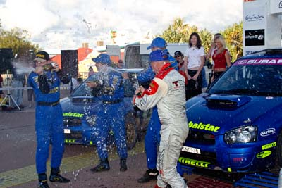 050605ARC;5-June-2005;ARC;Australia;Australian-Rally-Championship;Bill-Hayes;Caloundra;Coates-Rally-Queensland;Cody-Crocker;Dale-Moscatt;Dean-Herridge;QLD;Queensland;Simon-Evans;Sunshine-Coast;afternoon;auto;motorsport;official-finish;podium;racing