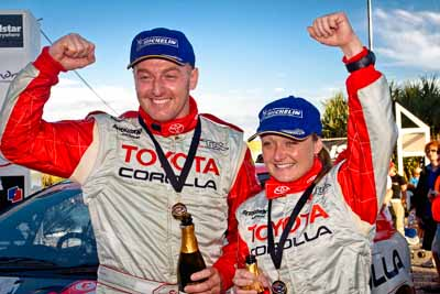 5-June-2005;ARC;Australia;Australian-Rally-Championship;Caloundra;Coates-Rally-Queensland;QLD;Queensland;Simon-Evans;Sue-Evans;Sunshine-Coast;Topshot;afternoon;auto;motorsport;official-finish;podium;portrait;racing