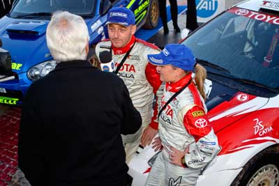 050605ARC;5-June-2005;ARC;Australia;Australian-Rally-Championship;Caloundra;Coates-Rally-Queensland;QLD;Queensland;Simon-Evans;Sue-Evans;Sunshine-Coast;afternoon;auto;motorsport;official-finish;podium;racing