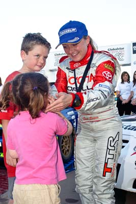 050605ARC;5-June-2005;ARC;Australia;Australian-Rally-Championship;Caloundra;Coates-Rally-Queensland;QLD;Queensland;Sue-Evans;Sunshine-Coast;afternoon;auto;motorsport;official-finish;podium;portrait;racing