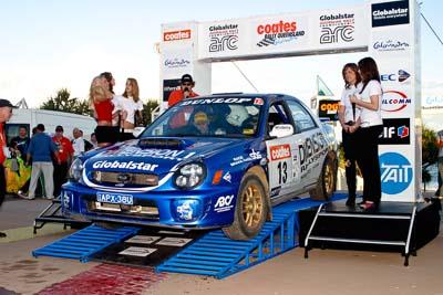 13;050605ARC;5-June-2005;ARC;Australia;Australian-Rally-Championship;Brad-Goldsbrough;Caloundra;Coates-Rally-Queensland;Paul-Humm;QLD;Queensland;Subaru-Impreza-WRX-STI;Sunshine-Coast;afternoon;auto;motorsport;official-finish;podium;racing