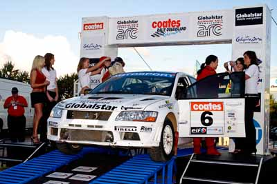 6;050605ARC;5-June-2005;ARC;Australia;Australian-Rally-Championship;Caloundra;Coates-Rally-Queensland;Evo-7;Jack-Monkhouse;Mitsubishi-Lancer;Mitsubishi-Lancer-Evolution-VII;QLD;Queensland;Rebecca-Cochrane;Sunshine-Coast;afternoon;auto;motorsport;official-finish;podium;racing