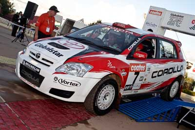 7;050605ARC;5-June-2005;ARC;Australia;Australian-Rally-Championship;Caloundra;Coates-Rally-Queensland;Coral-Taylor;Neal-Bates;QLD;Queensland;Sunshine-Coast;Team-TRD;Toyota-Corolla-Sportivo;Toyota-Racing-Development;afternoon;auto;motorsport;official-finish;podium;racing
