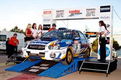 24;050605ARC;5-June-2005;ARC;Australia;Australian-Rally-Championship;Bernie-Webb;Caloundra;Coates-Rally-Queensland;QLD;Queensland;Steve-Glenney;Subaru-Impreza-WRX;Sunshine-Coast;afternoon;auto;motorsport;official-finish;podium;racing