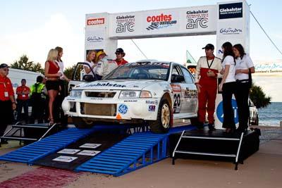 20;050605ARC;5-June-2005;ARC;Australia;Australian-Rally-Championship;Caloundra;Coates-Rally-Queensland;Evo-6;John-Allen;Kevin-Shaw;Mitsubishi-Lancer;Mitsubishi-Lancer-Evolution-VI;QLD;Queensland;Sunshine-Coast;afternoon;auto;motorsport;official-finish;podium;racing