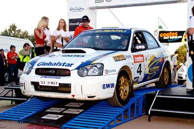 4;050605ARC;5-June-2005;ARC;Australia;Australian-Rally-Championship;Ben-Searcy;Benni-Tirant;Caloundra;Coates-Rally-Queensland;QLD;Queensland;Subaru-Impreza-WRX-STI;Sunshine-Coast;afternoon;auto;motorsport;official-finish;podium;racing