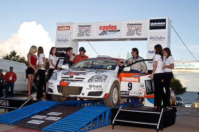 9;050605ARC;5-June-2005;ARC;Australia;Australian-Rally-Championship;Caloundra;Coates-Rally-Queensland;Martin-Lintott;QLD;Queensland;Sunshine-Coast;Tony-Jackson;Toyota-Corolla-Sportivo;afternoon;auto;motorsport;official-finish;podium;racing