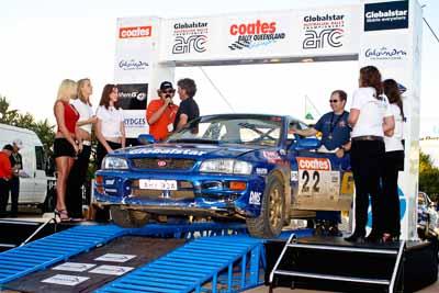 22;050605ARC;5-June-2005;ARC;Australia;Australian-Rally-Championship;Ben-Atkinson;Caloundra;Coates-Rally-Queensland;QLD;Queensland;Subaru-Impreza-WRX;Sunshine-Coast;Tony-Sullens;afternoon;auto;motorsport;official-finish;podium;racing