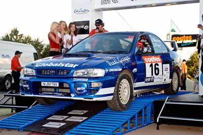 16;050605ARC;5-June-2005;ARC;Australia;Australian-Rally-Championship;Caloundra;Coates-Rally-Queensland;Darian-Pizem;John-Murray-Jnr;QLD;Queensland;Subaru-Impreza-WRX;Sunshine-Coast;afternoon;auto;motorsport;official-finish;podium;racing