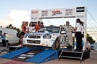 14;050605ARC;5-June-2005;ARC;Australia;Australian-Rally-Championship;Caloundra;Coates-Rally-Queensland;QLD;Queensland;Subaru-Impreza-WRX-STI;Sunshine-Coast;afternoon;auto;motorsport;official-finish;podium;racing