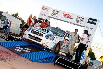 14;050605ARC;5-June-2005;ARC;Andrew-Pannam;Australia;Australian-Rally-Championship;Caloundra;Coates-Rally-Queensland;Darryl-Judd;QLD;Queensland;Subaru-Impreza-WRX-STI;Sunshine-Coast;afternoon;auto;motorsport;official-finish;podium;racing