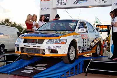 23;050605ARC;5-June-2005;ARC;Australia;Australian-Rally-Championship;Caloundra;Coates-Rally-Queensland;David-Callaghan;David-Hills;Evo-7;Mitsubishi-Lancer;Mitsubishi-Lancer-Evolution-VII;QLD;Queensland;Sunshine-Coast;afternoon;auto;motorsport;official-finish;podium;racing