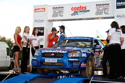 17;050605ARC;5-June-2005;ARC;Australia;Australian-Rally-Championship;Caloundra;Coates-Rally-Queensland;QLD;Queensland;Subaru-Impreza-RS;Sunshine-Coast;Toni-Feaver;Will-Orders;afternoon;auto;motorsport;official-finish;podium;racing