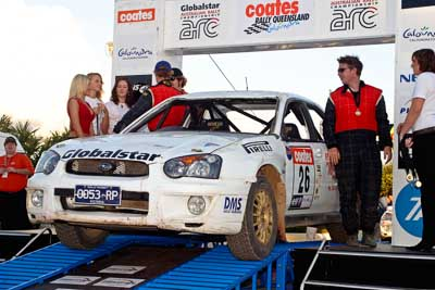 26;050605ARC;5-June-2005;ARC;Australia;Australian-Rally-Championship;Caloundra;Coates-Rally-Queensland;Eli-Evans;Matt-McAdam;QLD;Queensland;Subaru-Impreza-RS;Sunshine-Coast;afternoon;auto;motorsport;official-finish;podium;racing