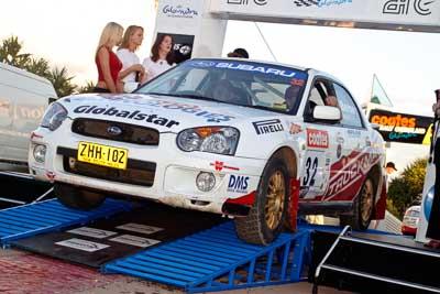 32;050605ARC;5-June-2005;ARC;Australia;Australian-Rally-Championship;Caloundra;Coates-Rally-Queensland;John-Berne;QLD;Queensland;Scott-Beckwith;Subaru-Impreza-RS;Sunshine-Coast;afternoon;auto;motorsport;official-finish;podium;racing