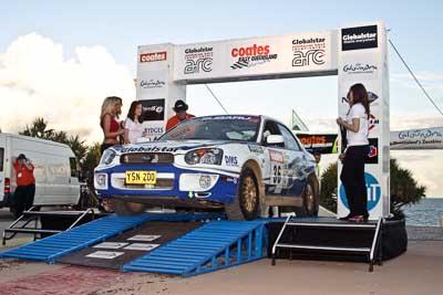 36;050605ARC;5-June-2005;ARC;Australia;Australian-Rally-Championship;Caloundra;Coates-Rally-Queensland;Jennifer-Cole;QLD;Queensland;Subaru-Impreza-RS;Sunshine-Coast;Tim-Robson;afternoon;auto;motorsport;official-finish;podium;racing