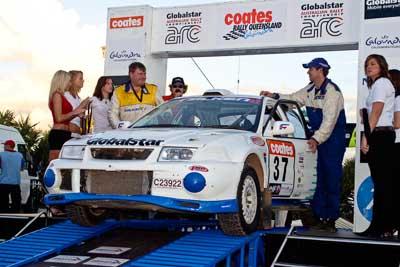 37;050605ARC;5-June-2005;Australia;Caloundra;Coates-Rally-Queensland;Evo-6;Mitsubishi-Lancer;Mitsubishi-Lancer-Evolution-VI;QLD;Queensland;Steven-Shepheard;Sunshine-Coast;Tom-Smith;afternoon;auto;motorsport;official-finish;podium;racing