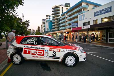 3;16-June-2006;ARC;Australia;Australian-Rally-Championship;Coral-Taylor;Mooloolaba;Neal-Bates;QLD;Queensland;Sunshine-Coast;Team-TRD;Toyota-Corolla-Sportivo;atmosphere;auto;ceremonial-start;motorsport;movement;racing;speed;twilight;wide-angle